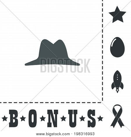 Men hat. Simple flat symbol icon on white background. Vector illustration pictogram and bonus icons