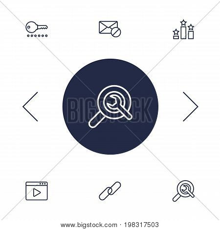 Collection Of Password, Video Marketing, Columns And Other Elements.  Set Of 6 Optimization Outline Icons Set.