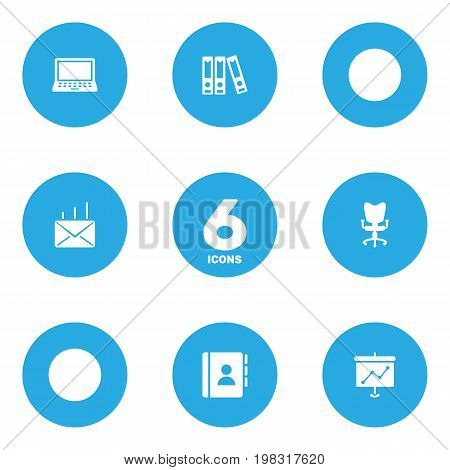 Collection Of Mail, Office Chair, File Folder And Other Elements.  Set Of 6 Bureau Icons Set.