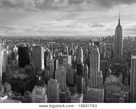 Manhattan e uma visão dos vários edifícios.