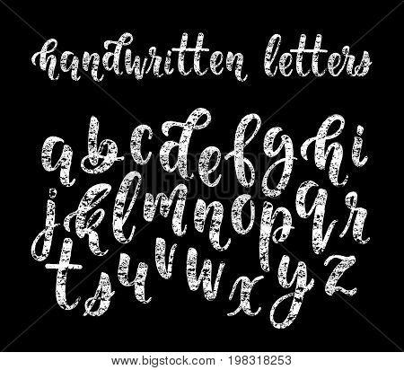 Chalk hand drawn latin modern calligraphy brush alphabet of lowercase letters. Vector illustration