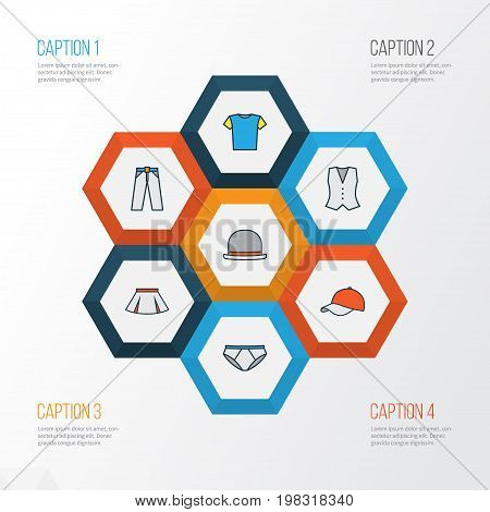 Clothes Colorful Outline Icons Set. Collection Of Skirt, Vest, T-Shirt And Other Elements