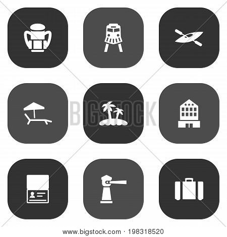 Collection Of Tram, Suitcase, Chaise Longue And Other Elements.  Set Of 9 Relax Icons Set.