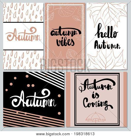 Hand drawn hello Autumn. autumn vibes. Autumn is coming. Collection of autumn  other typography flyer template with lettering bright fall leaves