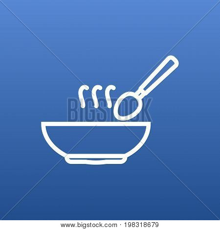 Vector Soup  Element In Trendy Style.  Isolated Broth Outline Symbol On Clean Background.