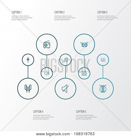 Music Outline Icons Set. Collection Of Orator, Template, Stringed And Other Elements