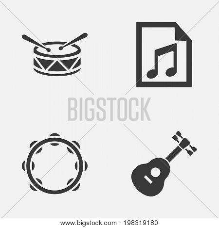 Audio Icons Set. Collection Of Timbrel, File, Instrument And Other Elements