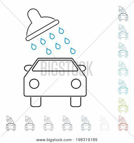 Car Wash contour icon. Vector illustration style is a flat iconic contour symbol in some color versions.