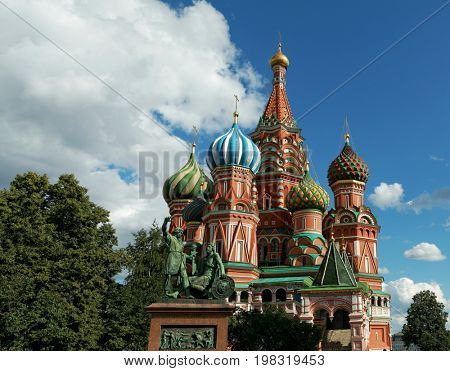 Old historical russian architecture, the Saint Basilica Cathedral at the Red Square in Moscow