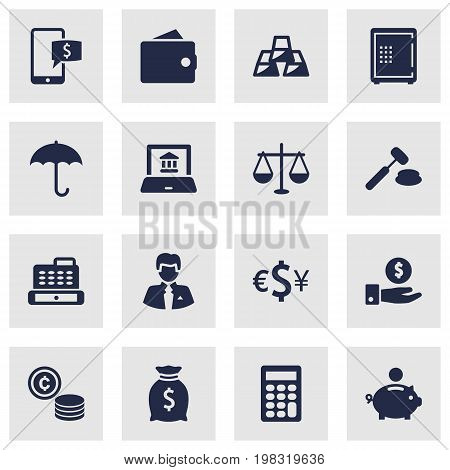Collection Of Umbrella, Strongbox, Cash And Other Elements.  Set Of 16 Finance Icons Set.
