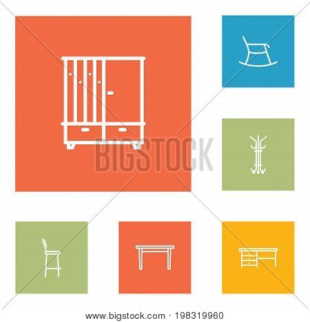 Collection Of Moving Chair, Bar Stool, Hanger And Other Elements.  Set Of 6 Set Outline Icons Set.