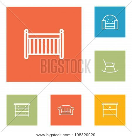 Collection Of Armchair, Moving Chair, Drawer Unit And Other Elements.  Set Of 6 Decor Outline Icons Set.
