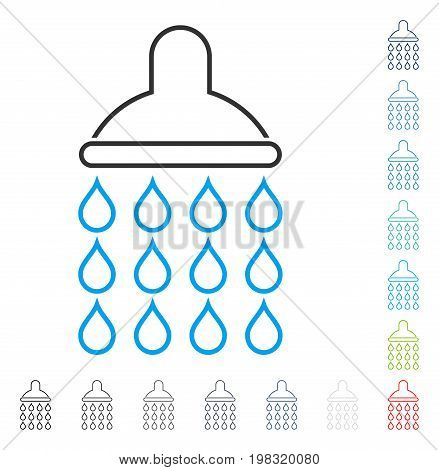 Shower contour icon. Vector illustration style is a flat iconic contour symbol in some color versions.