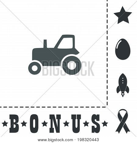 Tractor. Simple flat symbol icon on white background. Vector illustration pictogram and bonus icons