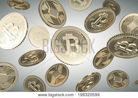 Falling Golden Bitcoins