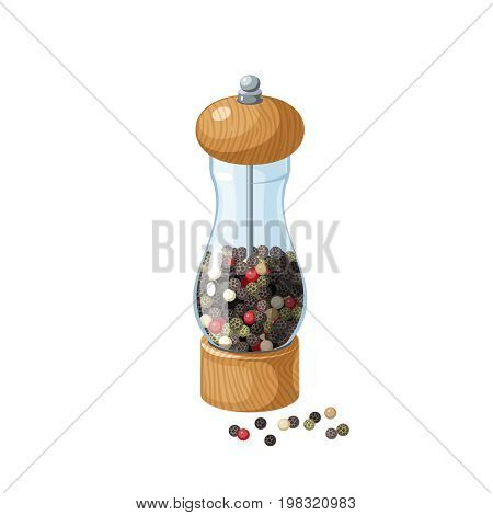 Transparent glass pepper mill with wooden bottom and cap filled pepper peas. Vector cartoon illustration flat icon isolated on white.