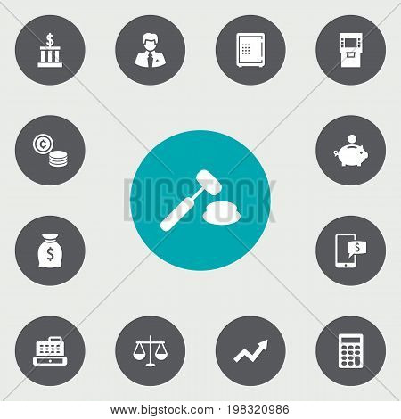 Collection Of Online Banking, Calculate, Cashbox And Other Elements.  Set Of 13 Budget Icons Set.