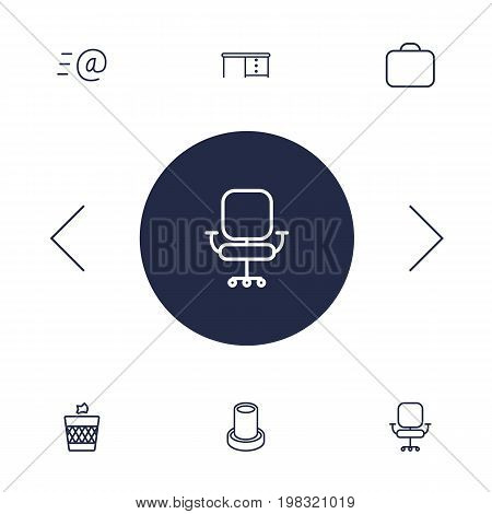 Collection Of Briefcase, Wastebasket, Chair And Other Elements.  Set Of 6 Workspace Outline Icons Set.