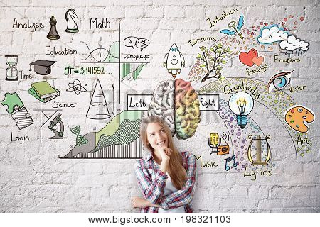 Smiling young woman on brick wall background with abstract brain sketch. Left and right hemispheres concept