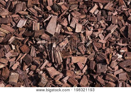 Decorative wooden brown chips, bark for the garden. Top view. Abstract pattern. Mulch.