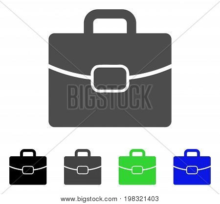 Briefcase flat vector illustration. Colored briefcase, gray, black, blue, green icon versions. Flat icon style for graphic design.