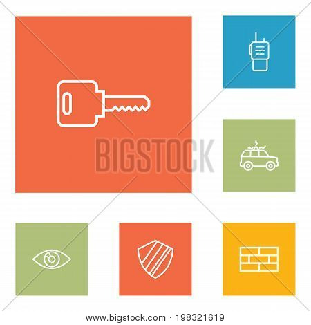 Collection Of Open, Vision, Firewall And Other Elements.  Set Of 6 Procuring Outline Icons Set.