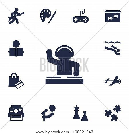 Collection Of Frogman, Joystick, Playing And Other Elements.  Set Of 13 Entertainment Icons Set.