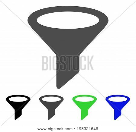 Filter flat vector illustration. Colored filter, gray, black, blue, green pictogram variants. Flat icon style for application design.