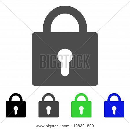 Lock flat vector pictogram. Colored lock, gray, black, blue, green icon variants. Flat icon style for application design.