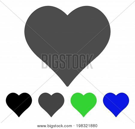 Love Heart flat vector illustration. Colored love heart, gray, black, blue, green pictogram versions. Flat icon style for web design.