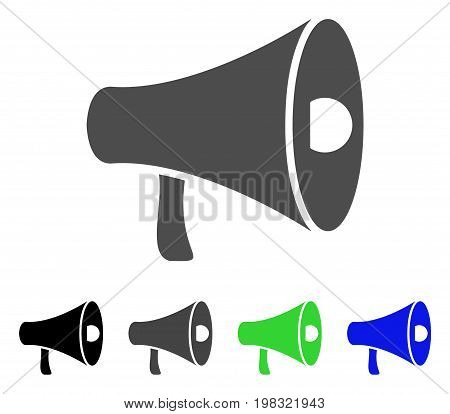 Megaphone flat vector pictogram. Colored megaphone, gray, black, blue, green icon versions. Flat icon style for graphic design.