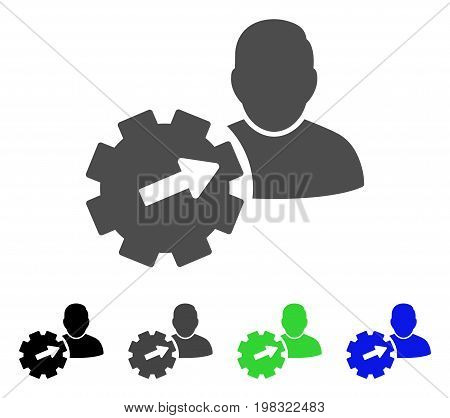 User Integration API Gear flat vector icon. Colored user integration api gear, gray, black, blue, green icon versions. Flat icon style for graphic design.