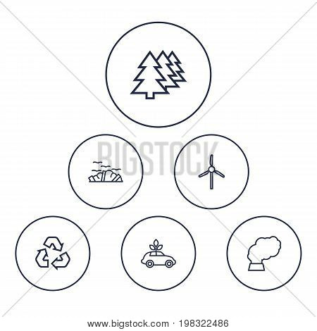 Collection Of Afforestation, Wind Turbine, Garbage And Other Elements.  Set Of 6 Bio Outline Icons Set.