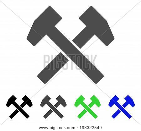 Work Hammers flat vector icon. Colored work hammers, gray, black, blue, green pictogram versions. Flat icon style for graphic design.