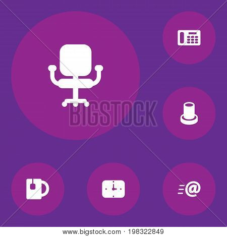 Collection Of Time, Phone, Message And Other Elements.  Set Of 6 Bureau Icons Set.