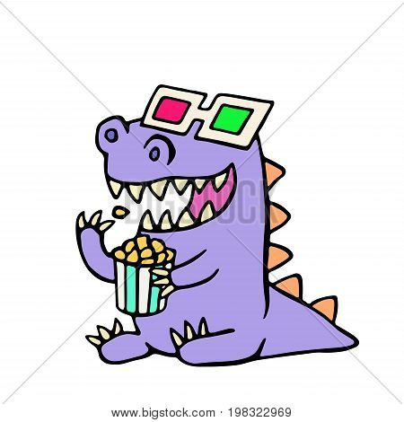 Happy dragon anaglyph glasses and a box of popcorn. Vector illustration. Cute cartoon character.
