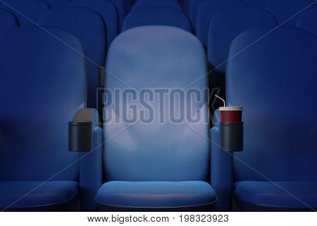Close up of illuminated blue cinema armchair with drink. Premiere concept. 3D Rendering