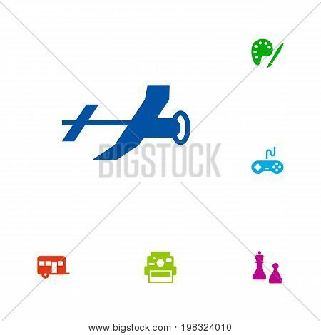 Collection Of Flying, Caravan, Joystick And Other Elements.  Set Of 6 Hobbie Icons Set.