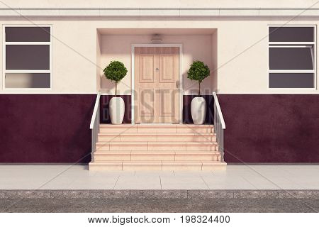Front view of building with pretty porch and stairs. Real estate architecture exterior concept. 3D Rendering