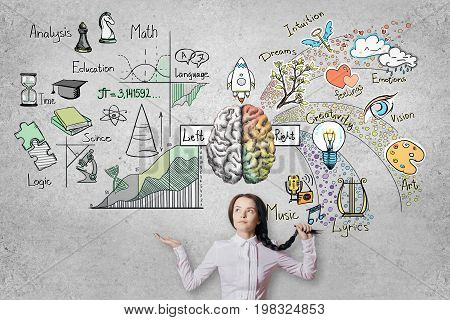 Thoughtful young woman on concrete wall background with abstract brain sketch. Left and right hemispheres concept