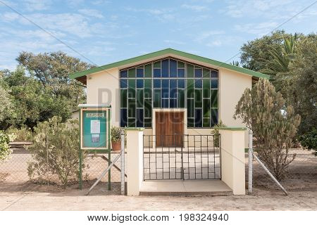 OTAVI NAMIBIA - JUNE 20 2017: The Jubilate German Evangelical Lutheran Church in Otavi in the Otjozondjupa Region of Namibia