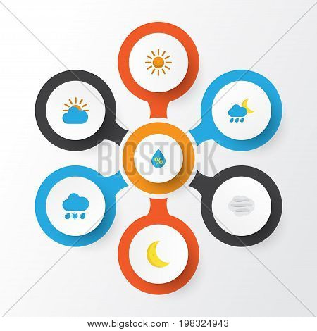 Air Flat Icons Set. Collection Of Sunny, Windy, Drop And Other Elements