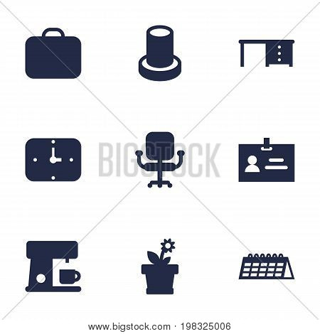 Collection Of Time, Desktop, Flower And Other Elements.  Set Of 9 Bureau Icons Set.