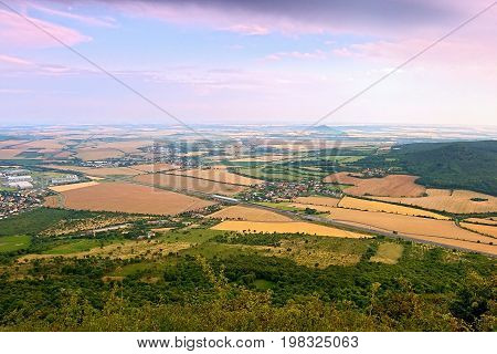 View From Lovos Hill To Czech Highway D8 Leading From Prague To Germany Near Vchynice Village With C