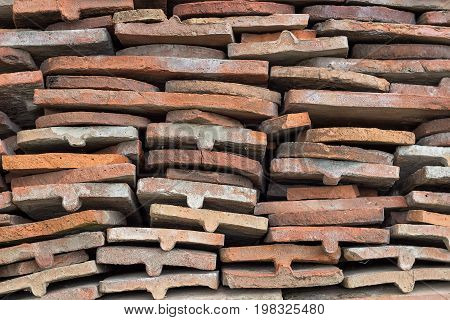 Heap Of Old Terracotta Tile Roof