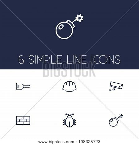 Collection Of Supervision, Dynamite, Open And Other Elements.  Set Of 6 Safety Outline Icons Set.
