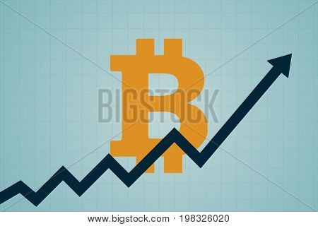 Flat Icon Design Of Uptrend Line Arrow Breaking Through Bitcoin Sign On Blue Color Background