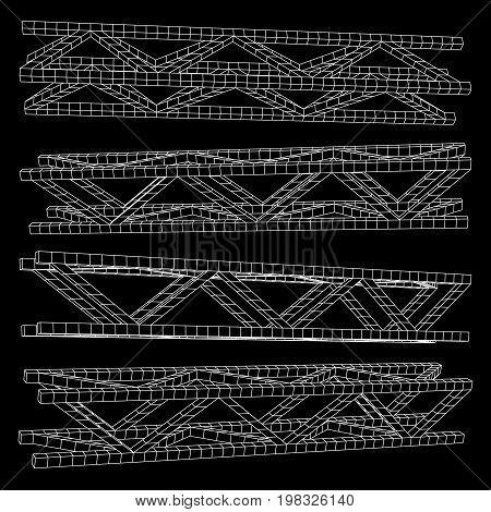 Steel truss girder element set. Wireframe low poly mesh. Vector illustration