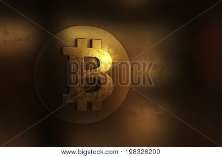 Single Bitcoin Coin Or Icon Standing In Sharp Focus On A Reflective Surface With Gold Colored Backgr