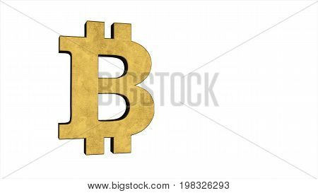 Golden Symbol Of Bitcoin Isolated On White Background. Crypto Currency, E-business And Technology Co